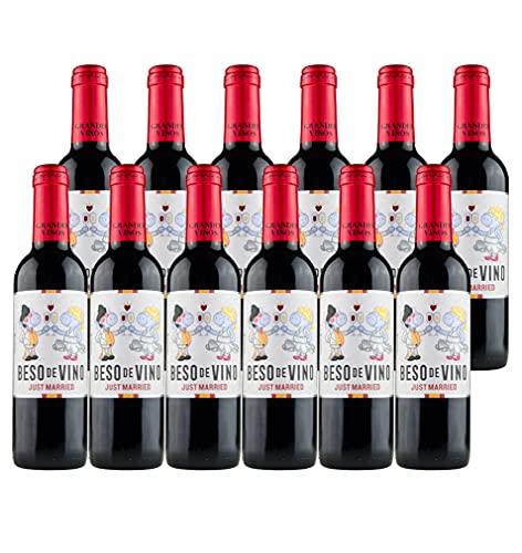 Pack Edición Especial Novios Boda - 12 botellas de 3/8 de Beso de Vino Just Married (375 ml x 12)