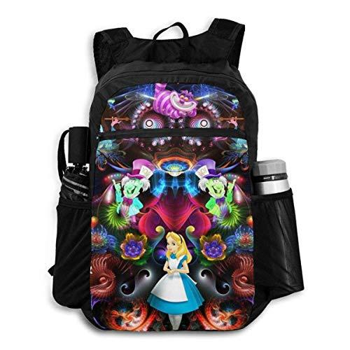 Alicia en el país de las maravillas mochila de viaje plegable cremallera bolsa escolar viaje mochila hombres mujeres adolescentes universidad estudiante regalo