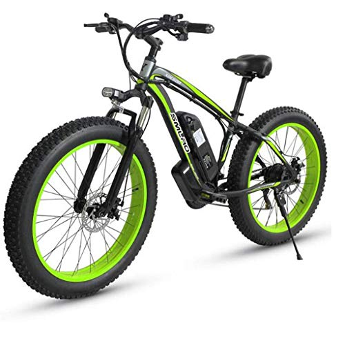 26 Inch Electric Bicycles for Adults, 500W Aluminum Alloy All Terrain E-Bike IP54 Waterproof Removable 48V/15Ah Lithium-Ion Battery Mountain Bike for Outdoor Travel Commute (Color : Green)