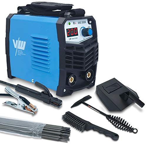 Elektroden Schweißgerät Inverter - Elektrodenschweißgerät Schweissgerät 230V - 200 Ampere - Starter-Set - Schlackehammer, Visier, Bürste, 10x Elektroden von Vector Welding?