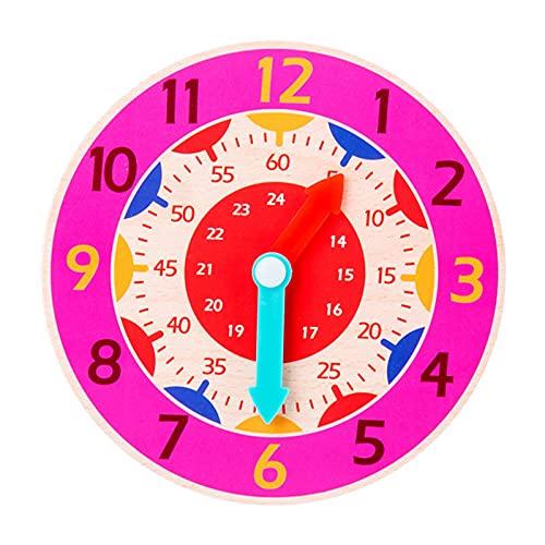 POHOVE Reloj de clasificación de color de forma de madera,Gira y dile reloj,Reloj de madera para niños que aprenden a decir tiempo,Montessori Reloj de madera para niños de 1 2 3 años de edad
