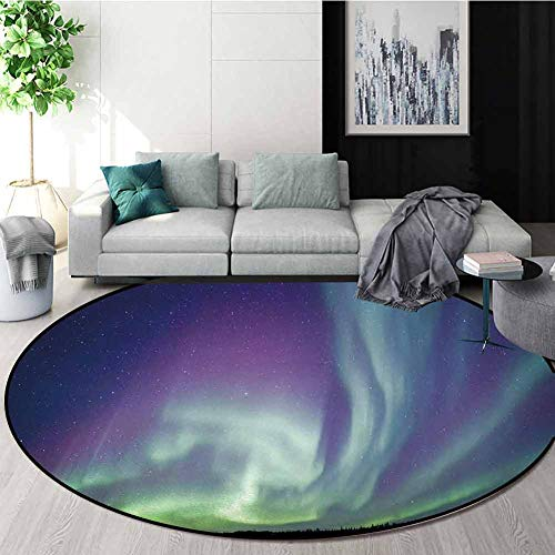 Great Price! Northern Lights Non-Slip Area Rug Pad Round,Exquisite Atmosphere Solar Starry Sky Calmi...
