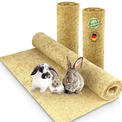 Nagerteppich aus 100% Hanf, 100 x 50cm, 5mm dick, 3er Pack, Hanfteppich für alle Arten Kleintiere, Hanfmatte Nagermatte Nager-Teppich