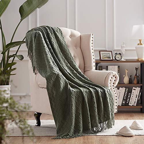 """NexHome Throw Blankets for Couch Green Moss Decorative Knit Blanket with Tassel Soft Lightweight Zigzag Textured Boho Throws (50""""x60"""" Olive Green)"""