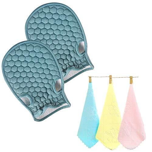 2 Stück Natur Peelinghandschuh aus Pflanzenfaser, reinigt porentief, Körper Scrubbe, Massagehandschuh, Premium Wellness Handschuh, Für Körperpeeling & Massage und 3 Aqua Micro Fibre Cloth