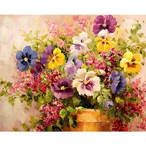 Diy Malerei nach Zahlen Phalaenop Blumen Kit Leinwand Bild malen Wandkunst Handwerk für Wohnkultur 50x65cm