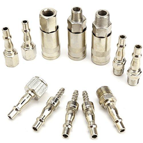 12x Druckluft Kupplung Stecknippel Schnellkupplung Schlauchanschluss Stecker Adapter Stecktuellen/Schlauchtuelle Schlauchanschluss Satz 1/4