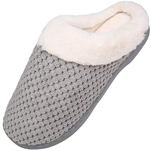Mishansha Zapatillas de Casa Hombre Pantuflas Antideslizantes Mujer Cálido y Confortable Zapatillas de Espuma Viscoelástica Gris Gr.38/39
