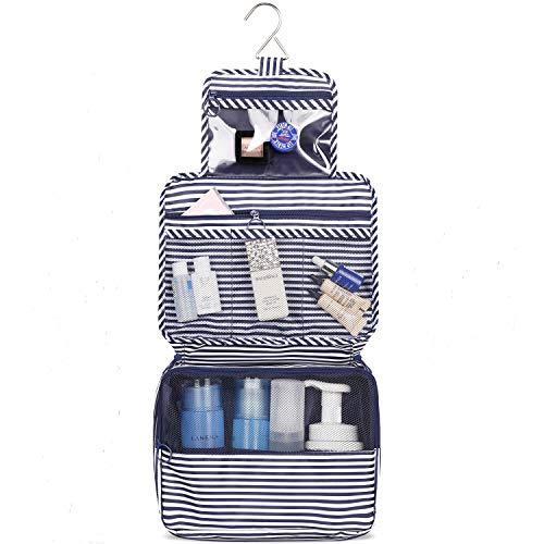 Reise Kulturtasche Zum Aufhängen Kulturbeutel Kosmetiktasche Waschtasche für Kinder Frauen Mädchen Damen (Blauer Streifen)