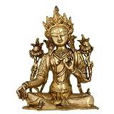 Statua di Tara Buddha Seduto Arte Buddista Indiano Regali Ottone Metallo 24,77 cm