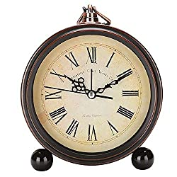 Monique 5in Vintage European Style Metal Alarm Clock Silent Non-Ticking Quartz Desk Clock Battery Operated Roman Numerals