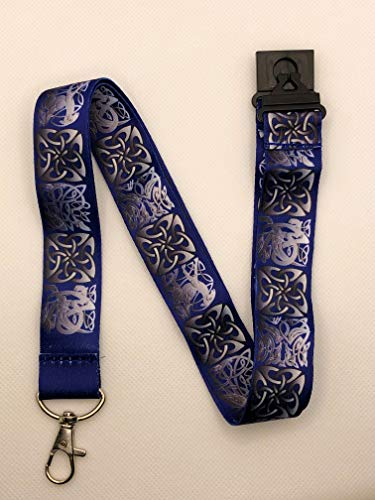 Blue Celtic Knot Print Lanyard Key Chain Id Badge Holder