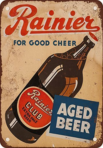 1934 Rainier Club Extra Pale Beer Vintage Look Reproduction Metal Tin Sign 12X18 Inches