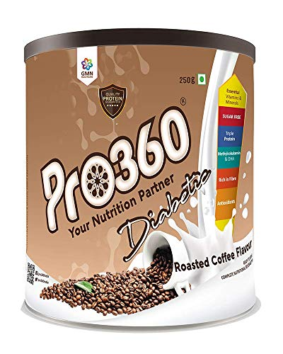 Pro360 Diabetic Adult Nutrition Health Drink For Diabetes Care - Roasted Coffee Flavour 250G - No Added Sugar