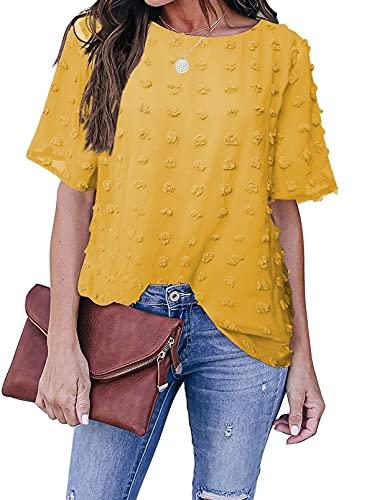 Sidefeel Womens Casual Summer Round Neck Short Sleeve Blouse Chiffon Swiss Dot Pom Pom T Shirt Tops Yellow X-Large