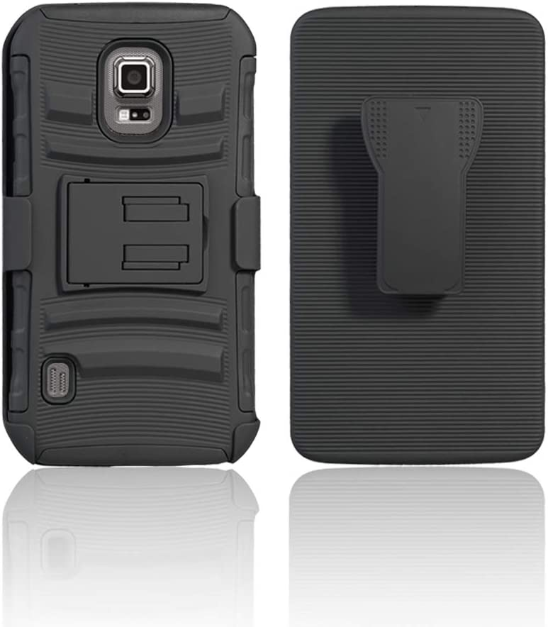 Cocomii Striped Belt Clip Holster Galaxy S5 Active Case, Slim Thin Matte Kickstand Swivel Belt Clip Holster Reinforced Drop Protection Bumper Cover Compatible with Samsung Galaxy S5 Active (Black)