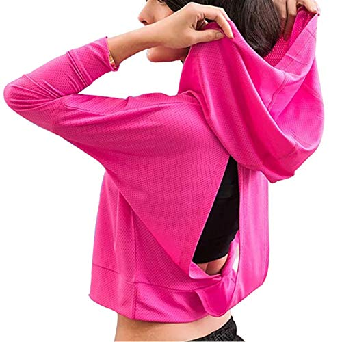 Fit Frenchie Women Long Sleeve Workout Open Back Performance Mesh Hoodie Sweatshirt (XS, Pink)