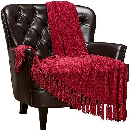 Best Chanasya Chenille Velvety Texture Decorative Throw Blanket with Tassels Super Soft Cozy Classy Elega