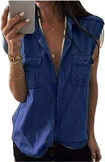Howme-Women Chest Pockets Sleeveless Button-up Denim Top Shirt