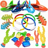 HENMI 26 Pack Diving Toy for Pool Use Underwater Swimming/Diving Pool Toy Rings, Toypedo Bandits,Stringy Octopus and Diving Fish with Under Water Treasures Gift Set Bundle,Ages 3 Years and Up