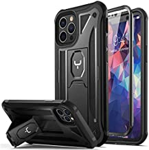 YOUMAKER Designed for iPhone 12 Case & iPhone 12 Pro Case Heavy Duty Protection Kickstand with Built-in Screen Protector Shockproof Cover for iPhone 12/12 Pro Case 6.1 inch - Black