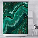 Duschvorhang 180X180 Dunkelgrüner Marmor Duschvorhang Anti-Schimmel & Wasserabweisend Shower Curtain, Duschvorhänge mit 12 Haken,Duschvorhang Textil Waschbar,Polyester