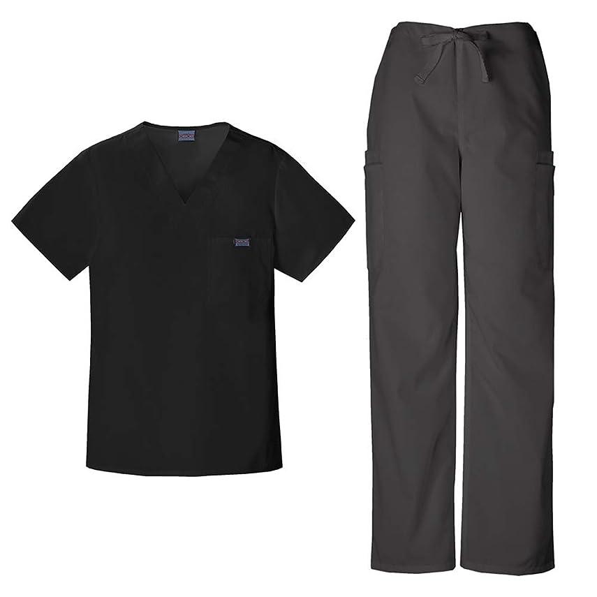 先結婚した化学者チェロキーワークウェアメンズVネックトップ4789?& Drawstring Cargo Pant 4000スクラブセット カラー: ブラック