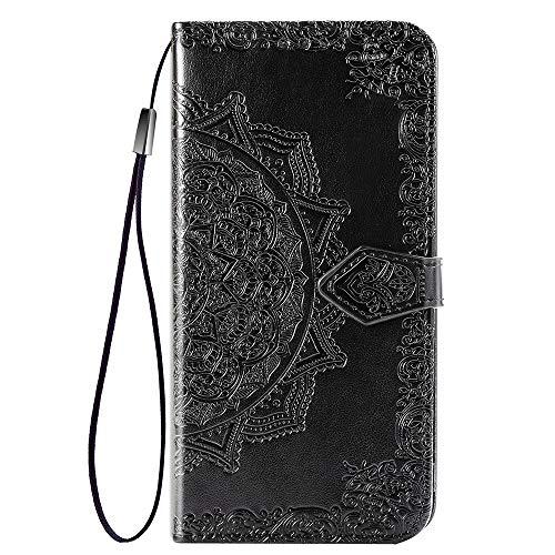 HAOYE Hülle für ASUS Rog Phone II/ASUS Rog Phone 2 ZS660KL Hülle, Mandala Geprägtem PU Leder Magnetische Filp Handyhülle mit Kartensteckplätzen/Standfunktion, Anti-Rutsch Schutzhülle. Schwarz