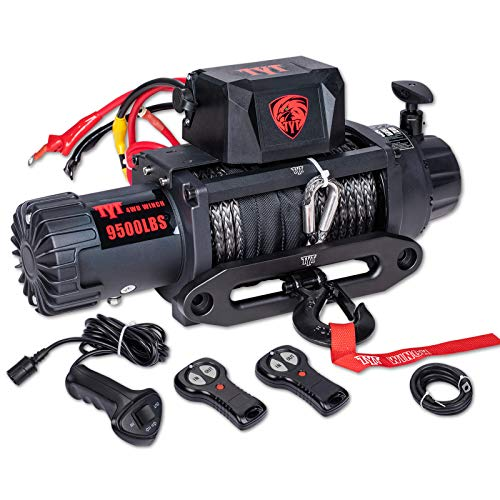 TYT New 9500 lb. Load Capacity Electric Winch T1,12V Winch with Synthetic Rope, Waterproof IP67 Truck Winch with Hawse Fairlead, with Wireless Handheld Remote and Wired Handle Recovery(All Black)