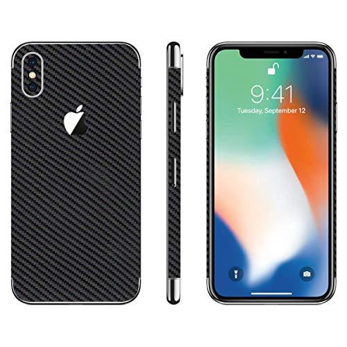 stika.co Pellicola Adesiva in Fibra di Carbonio per Apple iPhone X, 10, XS, Vinile, Fibra di Carbonio Nera, iPhone XS