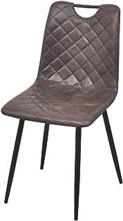 binzhoueushopping–Juego de sillas de Comedor Sillas de Comedor 2Stk Cocina Sillas de Piel Sintética Marrón Oscuro Cocina Sillas