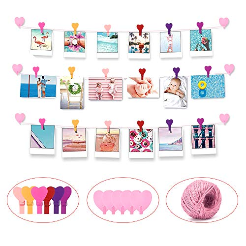 Photo Hanging Display with 36 Rainbow Clips, Multi Photos Organizer Wall Hanging String, Photo String Display for Home Office Nursery Room Dorm Artworks Prints – Record Any Instant (49pcs)