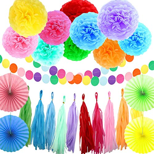 Rainbow Party Decorations Set, Multi-Color Paper Pom poms, Paper Folding Fans, Fringed And Dot Garland. Ideal For Birthday Parties, Weddings, Carnivals, Fiesta Or Mexican Party