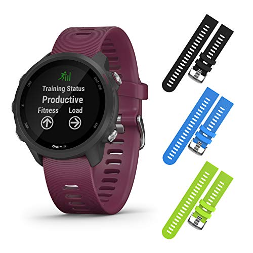 Garmin Forerunner 245 GPS Running Smartwatch with Included Wearable4U 3 Straps Bundle...