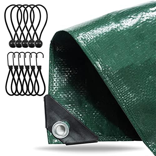 Lona 4x5 metros - 150 g / m² verde, para muebles de jardín - Lona de tela - Lona - Lona de jardín - Lona de construcción con ojales y tensor de lona
