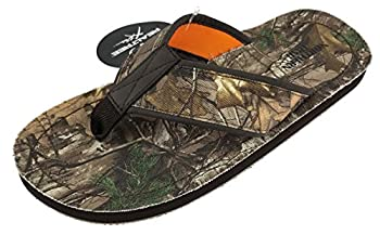 Realtree Camo Flip Flop Sandals for Men Woodsman Xtra Camouflage Northern Trail  Medium Size 7-8 Camo Green