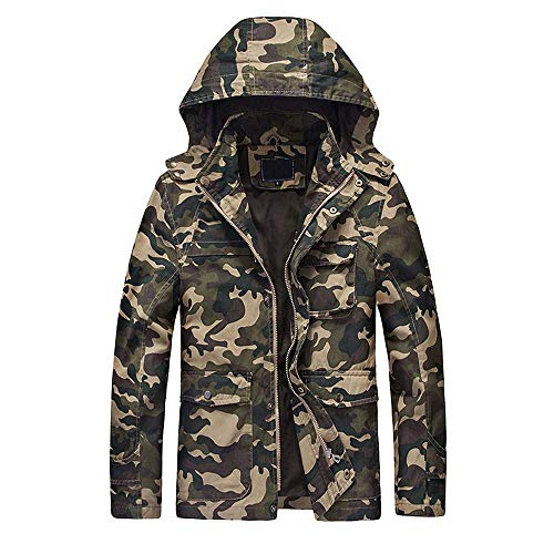 Heren Winterjas Mode Mannen Herfst Winter Camouflage Salopette Rits Hoodie Modieuze Completi Bovenkleding Rits Tool Camouflage Hooded Coat 8929 Vintage Klassieke Winterjas