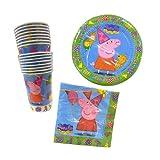 Lote de Cubiertos Infantiles'Peppa Pig' (16 Vasos, 16 Platos y 20 Servilletas) .Vajillas y Complementos. Juguetes para Fiestas de Cumpleaños, Bodas, Bautizos y Comuniones.