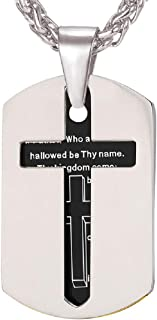 U7 Cross Dog Tags Necklace Double Layer Stainless Steel Pendant Lords Prayer Baptism Gift