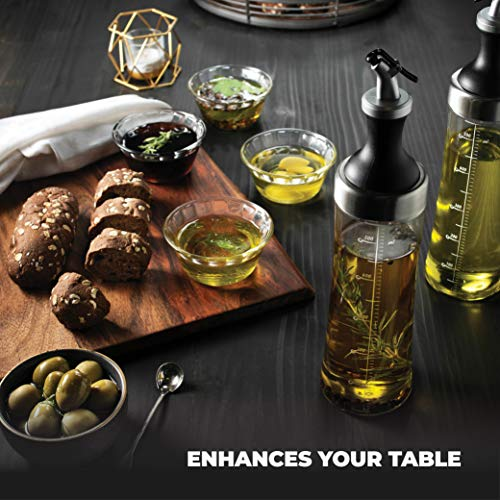Superior Glass Oil and Vinegar Dispenser, (set of 2) Modern Olive Oil Dispenser, Wide Opening for Easy Refill and Cleaning, Clear Lead Free Glass Oil Bottle, Pouring Spouts, 18 Oz. Cruet Set