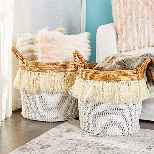 "CosmoLiving by Cosmopolitan Large, Round White Seagrass Baskets with Handles, Banana Bark & Fringe Detail | Set of 2: 18"" x 16"", 16"" x 15"""