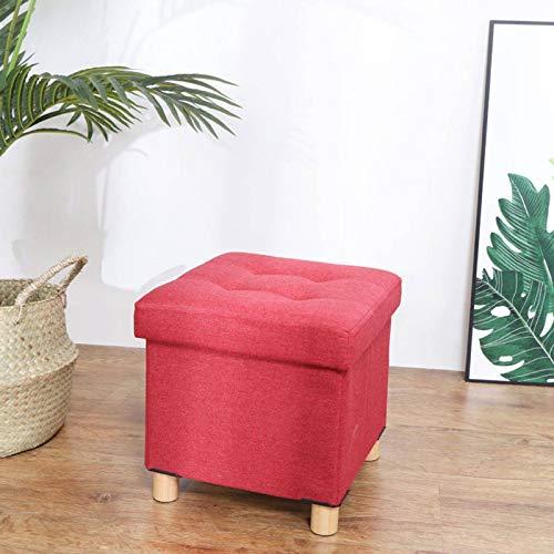 GOPG Lino Baúl Puff Taburete, Plegable Taburete para Almacenaje Hogar Banco de Zapatos Otomana Taburete de Sofá Adecuado para Sala de Estar Dormitorio Balcon-30X30X31cm-Rojo Vino