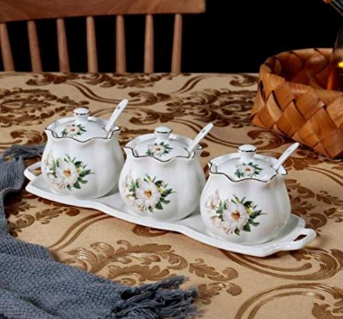 Keramische vaas keuken kruid gecombineerd pakket van Europese nationale tripartiete kruiden stijlvolle hoes suiker eetlepel zout,een afmeting,H