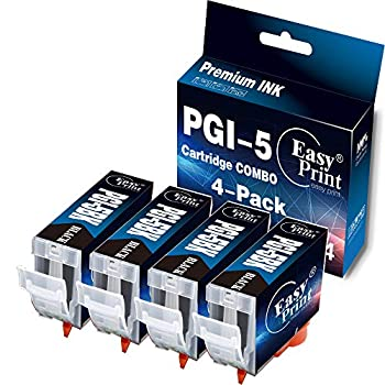 EASYPRINT Compatible Ink Cartridge Replacement for Canon PGI-5 Black Used for PIXMA IP4300 IP4500 IP5200 IP6600D MP600 Pro9000 Printer  Big Black 4-Pack