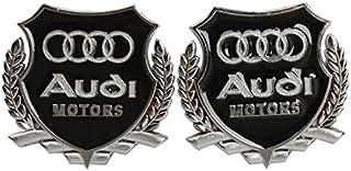 2pc Audi Motors Silver Car 3D Metal Grille Trunk Badge Decal Logo