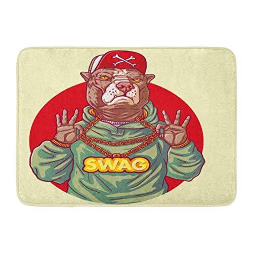 Alfombrillas Alfombras de baño Alfombrilla para exteriores / interiores Staffordshire Terrier Rap Gangster Swag Pitbull tiene cadena de oro en las manos Perro Hipster Rapero Decoración de baño