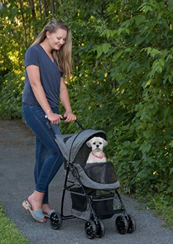 Pet Gear Happy Trails Pet Stroller for Cats/Dogs, Easy Fold with Removable Liner, Storage Basket, Dark Platinum, Model Number: PG8030DP