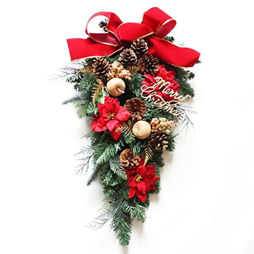 グランドグルー クリスマスリース クリスマス 飾り 造花 アーティフィシャルフラワー ハンドメイド クリスマス用玄関飾り 壁掛け スワッグ