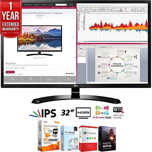 LG 32MA68HY-P 32-Inch IPS Monitor with Display Port and HDMI Inputs Bundle with Elite Suite 18 Standard Editing Software Bundle and 1 Year Extended Warranty