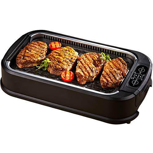 Power Smokeless Grill - 1500W Indoor BBQ with Smoke Extractor Technology - Adjustable Temperature Control - Dishwasher Safe Non-Stick Aluminium